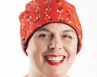 Beanie,slouchy hat,Cap,black,Red,reversible,black,hat slouchy beanie,slouchy cap,cotton Spandex Chemo Caps,Chemo Hat,stretchy caps