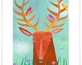 Forest Adventure Deer, Giclee Art Print, Woodland Series, Children's Decor