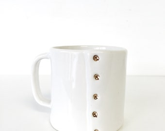 Coffee cup mug in 22k gold accent gift handmade ceramic mug