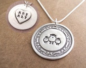 Personalized Mother and Twin Sheep Necklace, Mom and Two Children, Heart Oval Monogram, Fine Silver, Sterling Silver Chain, Made To Order