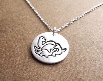 Dinosaur Family Necklace, Mom, Dad, Baby, Two Moms, Two Dads, New Family Necklace, Fine Silver, Sterling Silver Chain, Made To Order