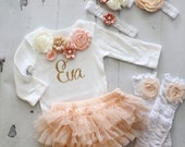 Personalized Baby Girl Easter Spring Outfit Set. Sisters Matching Peach, Gold. Floral Bodysuit Tutu Diaper Cover Leggings & Bow. Valentine's