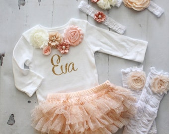Personalized Baby Girl Christmas Outfit Set. Sisters Matching Holiday, Peach, Gold. Floral Bodysuit, Tutu Diaper Cover, Leggings & Headband