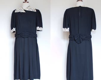 vintage 1930s black and white day dress / 30s 40s rayon afternoon dress with floral applique lace / L