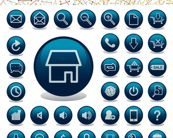 Web Application Icons - Glossy Icons for Website - Web Button Blog Button Ecommerce Clipart - Commercial Use Instant Download