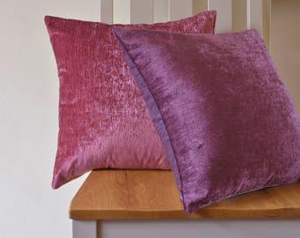 Reversible Velvet Pillow Cover in Plum & Mauve , Rich Velvet Cushion covers in Shades of Mauve , Luxury Plum and Mauve Velvet Cushion Covers