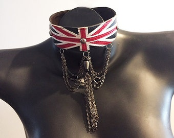 Union Jack Leather Choker with Gunmetal chain trim and star studs by Witty Kittys