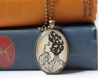 Betsy Tacy book jewelry - vintage illustration pendant necklace - Maud Hart Lovelace book gift - book club jewelry gift idea
