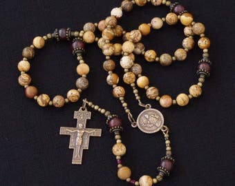 St Francis, San Damiano Crucifix Catholic Rosary -  Picture Jasper and Breciated Jasper beads.