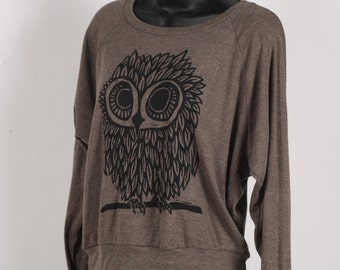 Ready To Ship!!!! Owl on Evergreen American Apparel Tri-Blend Light Weight Raglan Pullover S, M, L