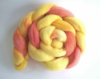 Tequila Sunrise Polwarth combed tops for spinning or felting