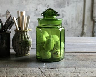 Vintage Apple Green Counter Glass Jar