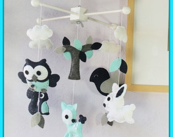 Woodland Mobile, Baby Mobile, Forest Friends Nursery, Owls & Birds Mobile, Owl Squirrel Deer Bird Bunny, Turquoise Navy White Grey Smoke