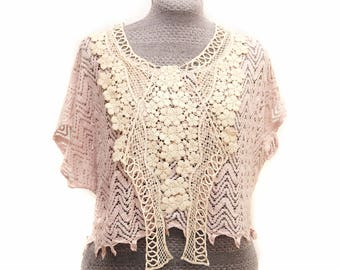 Pink and Ivory Bohemian Lace top