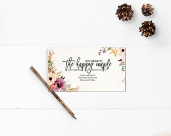 Wedding registry cards, gift registry cards, 3.5x2, Enclosure cards, RC0005