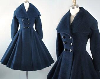 Vintage 50s LILLI ANN Princess Coat / 1950s Navy BLUE Paris France Mohair Wool Dress Coat Pinup Wasp Waist Full Circle Skirt Small Medium Sm