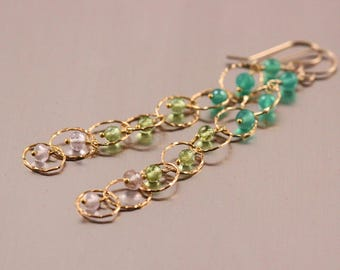 Green Onyx, Peridot, Rose Quartz Earrings, Gold Filled, Long Dangly Chain, Hammered Textured, August Birthstone, Pink Green Emerald