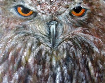 Owl bird animal art Giclee CANVAS PRINT of original oil painting by Sandra Cutrer Fine Art