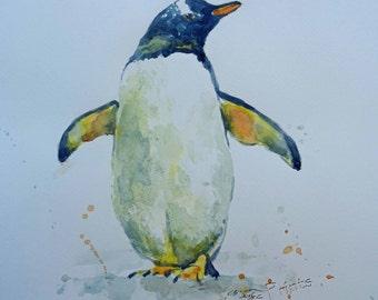 Gentoo Penguin Art Watercolor Original Animal Painting