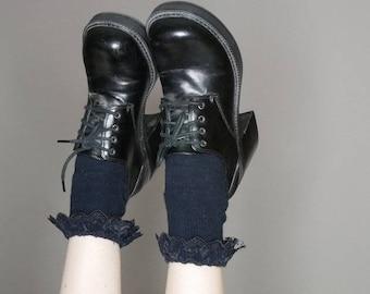 90s black platform lace up vegan leather heels size 7