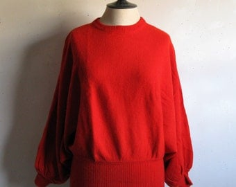 Vintage 80s Cashmere Sweater Tom Scott 1980s Orange-Red Bat Wing Knit Pullover Jumper Medium