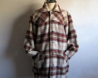 Vintage Deacon Brother 60s Jacket Beige Burgundy Plaid Wool Blend 1960s Mens Winter Button Down Jacket Large