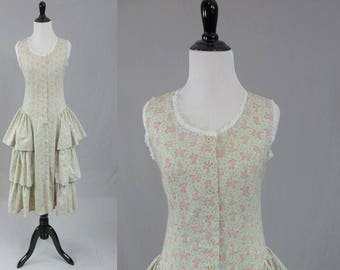 80s Floral Dress - Romantic Tiered Ruffles - Pink Gray Green - Lace Trim - Pea Patch - Vintage 1980s - Size S