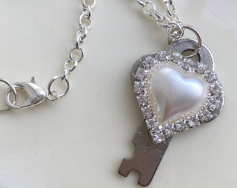 Key to my Heart Pendant, Steampunk Necklace, Silver Key and White Heart Necklace, White Heart with Rhinestone Necklace