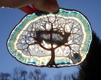 Copper Wire Tree Of Life Metal Wall Art Sculpture Garden Ornament On A Blue Agate Geode Stone Crystal Suncatcher