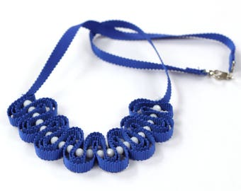 Ocean blue ribbon necklace with white beads