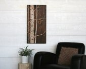 Large Wood Burned Wall Art  - Silver Birch -  32 X 16 inches