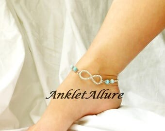 Infinity Rhinestone Anklet Ankle Bracelet Something Blue Bridal Jewelry Bridal Body Jewelry Garter Ceremony Foot Jewelry