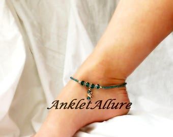 Ocean Cruise Angel Fish Anklet Blue Crystal Ankle Bracelet Gold Fish Anklet Beach Ankle Bracelet