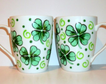 Shamrock or 4 leaf Clover Cups Hand Painted Set of 2 -14 oz. Porcelain Mugs Irish Coffee Mugs Coffee Cups Kelly Green St. Patrick's Day