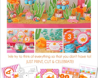 Goldfish Birthday Pool Party | Goldfish Party Printable | Pool Party Decoration | Girls Pool Party | Under the Sea | Amandas Parties To Go