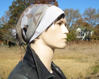 Cool Hats, Tribal Print Slouchy Beanie Leather Wrap Tie Back Slouch Tam Brown Knit Men's Hats  by Vacationhouse A1657