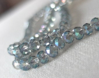 "18"" 4mm Blue green gray Faceted Crystal Rondell Beads, 4mm x 3mm, 18"" strand, approx. 150 pieces"