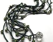 "Crochet wrap bracelet / necklace, beaded, ""forest garland"", boho necklace, aqua, teal, bohemian jewelry, crochet jewelry, spring fashion"