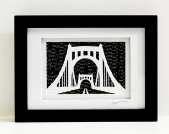 Modern Pittsburgh Papercut Art, Roberto Clemente Bridge