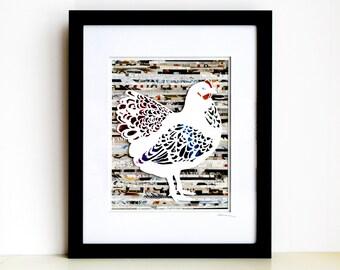 Chicken Wall Art - An Original Hen Paper Cut Collage