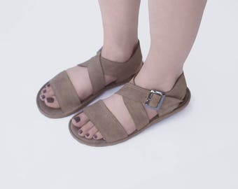 Sandal X in sand - Handmade leather sandals - CUSTOM FIT