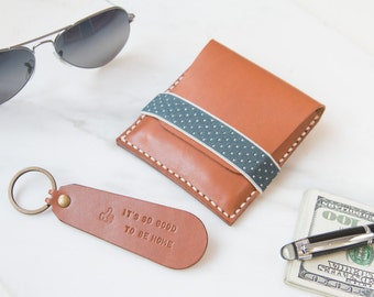 Bundle Personalized Leather Wallet with Elastic Tape Leather Keychain Custom Leather Money Clip Monogram-HarLex/Christmas Gift/Gift for Him