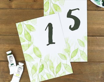 Botanical Wedding Table Number Cards - Rustic Wedding Number Cards - Spring Wedding Stationery - Table Number Cards - Wedding Number Stands