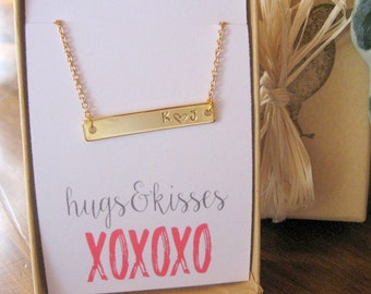 Personalized Gold Bar Necklace, Valentines Day Gift, Hugs and Kisses Necklace, Anniversary Gift, Initial Necklace, Sentiment Jewelry w Card
