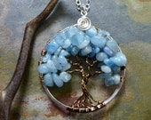 Tree of Life,Tree of Life Aquamarine Necklace,Wire Wrapped Aquamarine Tree of Life Pendant,Wired Tree of Life Jewelry,March Birthstone