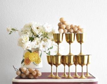 set of 10 mid century hollywood regency brass goblet / champagne wine glasses