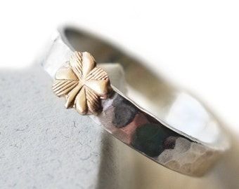14k Gold Clover Ring, Personalized Jewelry, Engravable Silver Ring, Four Leaf Clover, Customized Ring, Secret Message