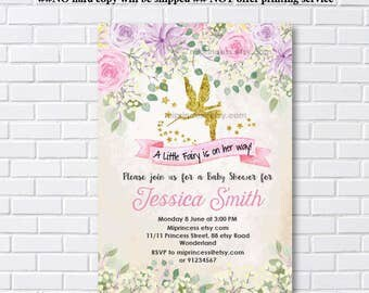 Fairy Baby Shower Invitation Baby birthday invite, fairy girl Shower Invite party Invitation, baby girl shower, - card 1095