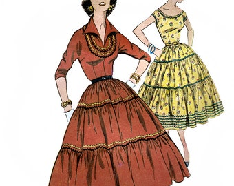 Simplicity 4733 Vintage 50s Sewing Pattern for Misses' Squaw Dress - Uncut - Size 12 - Bust 30