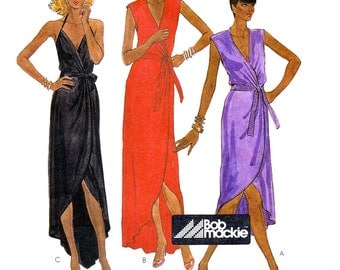 McCall's 7374 Vintage 80s Sewing Pattern by Bob Mackie for Misses' Wrap Dress - Uncut - Size 10
